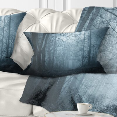 Darkness in Forest with Fog Landscape Photo Pillow Size: 12 x 20, Product Type: Lumbar Pillow