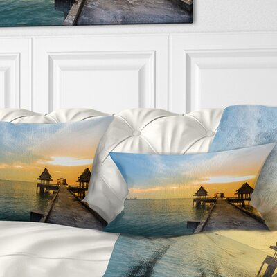 Walking Path to Temple in the Sea Bridge Pillow Size: 12 x 20, Product Type: Lumbar Pillow
