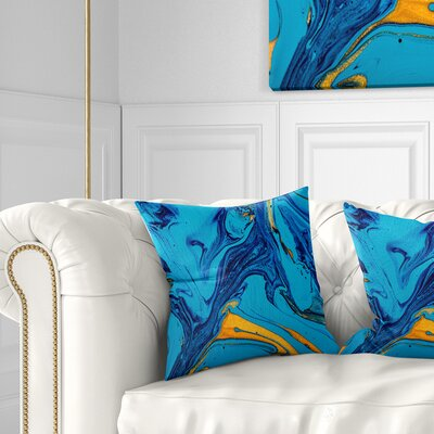 Soft Abstract Acrylic Paint Mix Abstract Pillow Size: 16 x 16, Product Type: Throw Pillow