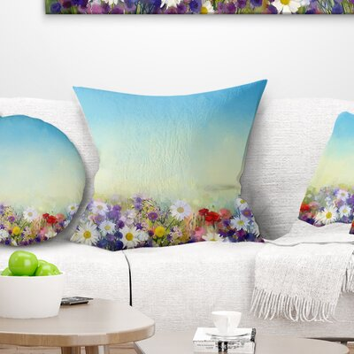 Soft Flowers in Spring Background Floral Pillow Size: 18 x 18, Product Type: Throw Pillow