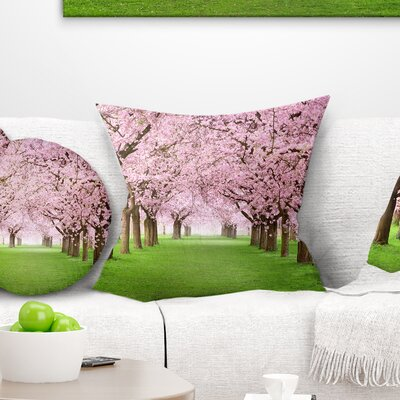 Gorgeous Trees in Full Blossom Landscape Printed Pillow Size: 18 x 18, Product Type: Throw Pillow