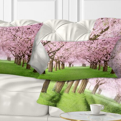 Gorgeous Trees in Full Blossom Landscape Printed Pillow Size: 12
