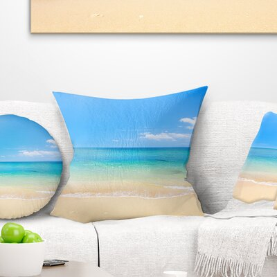 Waters Below Sky Seashore Photo Pillow Size: 18 x 18, Product Type: Throw Pillow