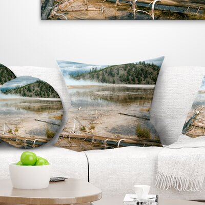 Grand Prismatic Spring Landscape Photography Pillow Size: 18