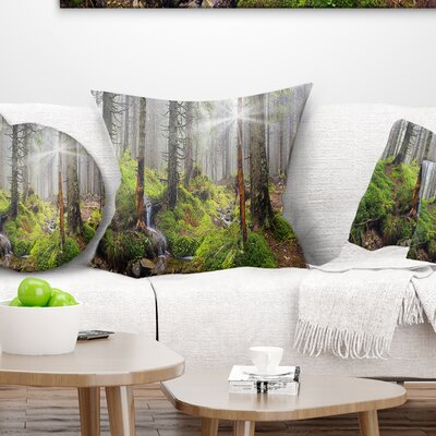 Bright Carpathian Forest Landscape Photography Pillow Size: 16 x 16, Product Type: Throw Pillow