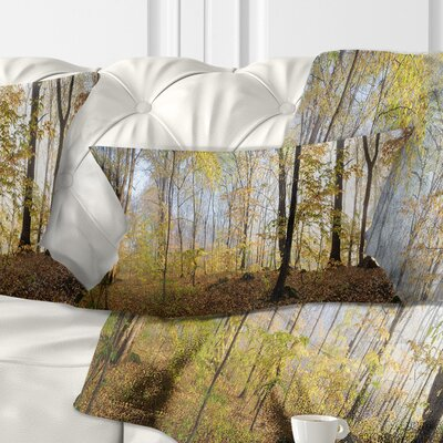 Autumn Forest in Morning Landscape Photography Pillow Size: 12 x 20, Product Type: Lumbar Pillow