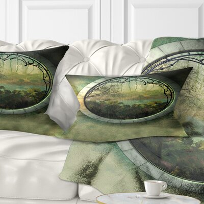 Fantasy Landscape with Frame Photography Pillow Size: 12 x 20, Product Type: Lumbar Pillow