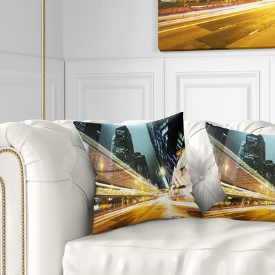 Traffic in Hong Kong at Night Cityscape Pillow Size: 18 x 18, Product Type: Throw Pillow