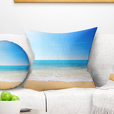 Waves at Tropical Beach Seashore Photo Pillow Size: 16 x 16, Product Type: Throw Pillow