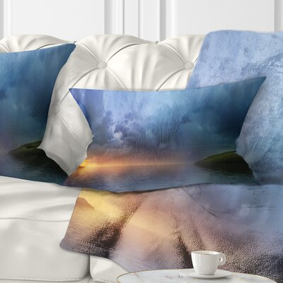 Dense Clouds over Lake Skyline Photography Pillow Size: 12