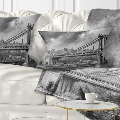Manhattan Skyline Cityscape Photography Pillow Size: 12 x 20, Product Type: Lumbar Pillow