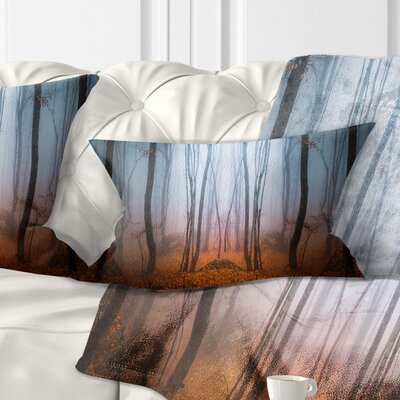 Dense Foggy Autumn Forest Landscape Photo Pillow Size: 12 x 20, Product Type: Lumbar Pillow