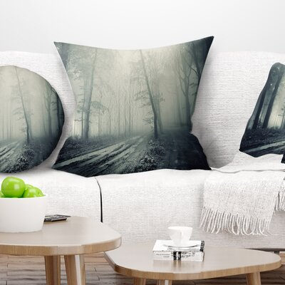 Spooky Dark Forest with Fog Landscape Photography Pillow Size: 18 x 18, Product Type: Throw Pillow