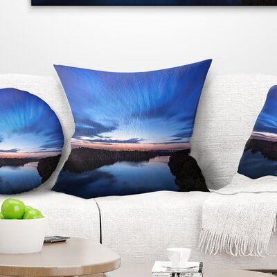 Night Sky with River Landscape Photo Pillow Size: 16 x 16, Product Type: Throw Pillow