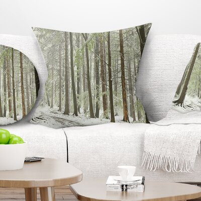 Spring Beech Forest Scenery Landscape Photo Pillow Size: 18 x 18, Product Type: Throw Pillow