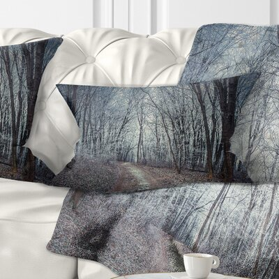 Dense Fall Forest Path Landscape Photo Pillow Size: 12 x 20, Product Type: Lumbar Pillow