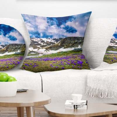 Spring Blooming Crocus Flowers Landscape Printed Pillow Size: 16 x 16, Product Type: Throw Pillow
