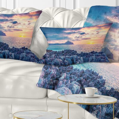 Spring Sunset over Monte Cofano Landscape Photography Pillow Size: 12 x 20, Product Type: Lumbar Pillow