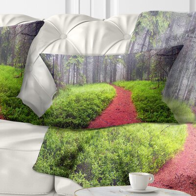 Desert Footpath to Misty Forest Landscape Photography Pillow Size: 12 x 20, Product Type: Lumbar Pillow
