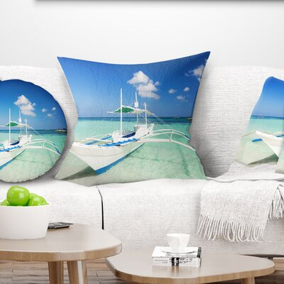 Boat in Sea Water Seascape Pillow Size: 16 x 16, Product Type: Throw Pillow