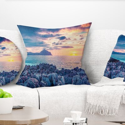 Spring Sunset over Monte Cofano Landscape Photography Pillow Size: 26 x 26, Product Type: Euro Pillow