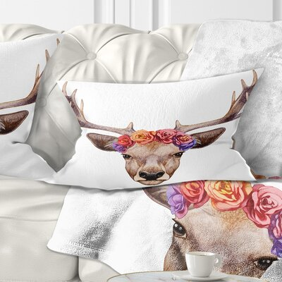 Deer Portrait with Floral Head Deer Pillow Size: 12 x 20, Product Type: Lumbar Pillow
