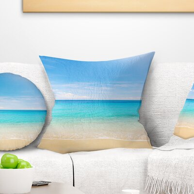 Bright Tropical Beach Seashore Photo Pillow Size: 16 x 16, Product Type: Throw Pillow