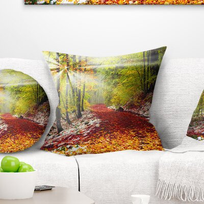 Bright Alpine Forest Landscape Photo Pillow Size: 18 x 18, Product Type: Throw Pillow
