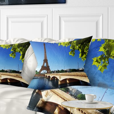 Bridge to Paris Eiffel TowerParis Cityscape Pillow Size: 16 x 16, Product Type: Throw Pillow