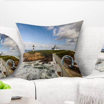 Bright Illa Pancha Lighthouse Seashore Photo Pillow Size: 16 x 16, Product Type: Throw Pillow