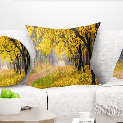 Bright Autumn Forest Landscape Photo Pillow Size: 16 x 16, Product Type: Throw Pillow