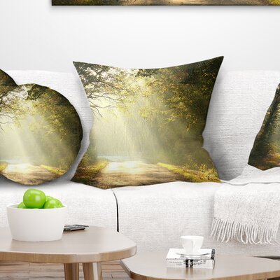 Bright Sunbeams to Fall Forest Landscape Photography Pillow Size: 18 x 18, Product Type: Throw Pillow
