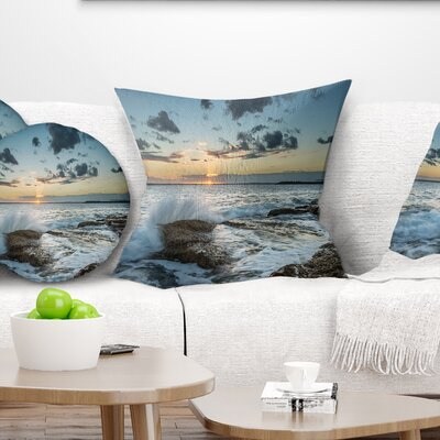 Bright Sydney Sunset over Sea Seascape Pillow Size: 18 x 18, Product Type: Throw Pillow