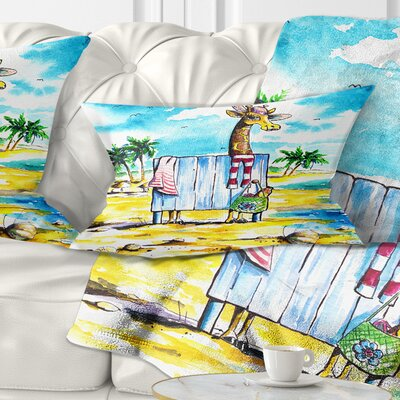 Giraffe in Dressing Room on Beach Cartoon Animal Pillow Size: 12 x 20, Product Type: Lumbar Pillow
