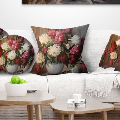 Bouquet of Blooming Peonies Floral Pillow Size: 26 x 26, Product Type: Euro Pillow