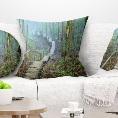 Stairway Leading to Foggy Forest Landscape Photography Pillow Size: 18 x 18, Product Type: Throw Pillow