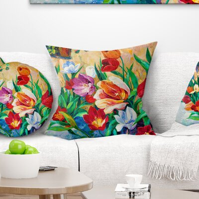 Bouquet of Flowers Floral Pillow Size: 18 x 18, Product Type: Throw Pillow
