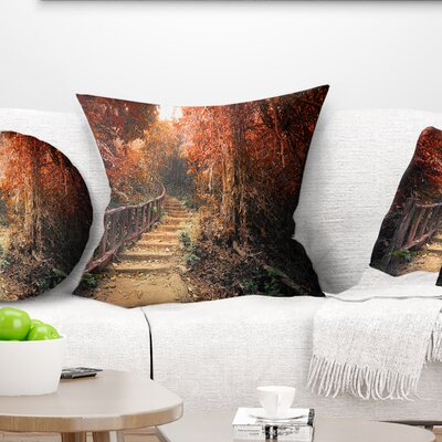Stairway Through Fall Forest Landscape Photography Pillow Size: 16 x 16, Product Type: Throw Pillow