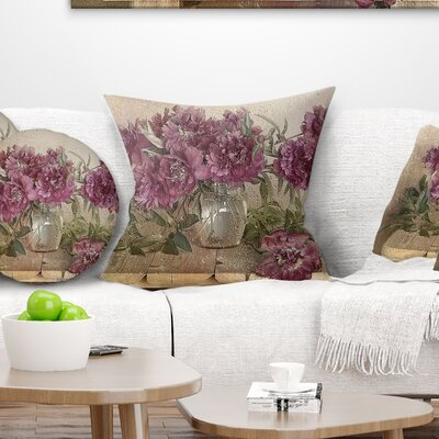 Bouquet of Pink Peonies Floral Pillow Size: 26 x 26, Product Type: Euro Pillow