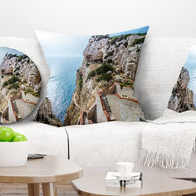Stairway to Neptune S Grotto Seascape Pillow Size: 18 x 18, Product Type: Throw Pillow