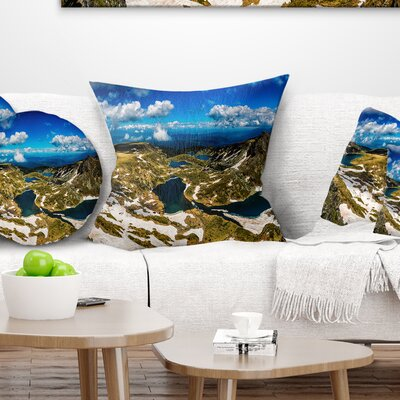 Bright Sky over Seven Rila Lakes Landscape Printed Pillow Size: 18 x 18, Product Type: Throw Pillow