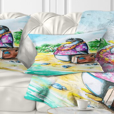 Penguin Enjoying Holidays on Beach Cartoon Animal Pillow Size: 12 x 20, Product Type: Lumbar Pillow