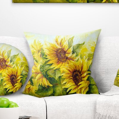 Bright Sunny Sunflowers Floral Painting Pillow Size: 26 x 26, Product Type: Euro Pillow
