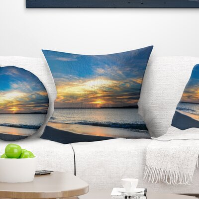 Bright Sydney Sky over Beach Seashore Pillow Size: 18 x 18, Product Type: Throw Pillow