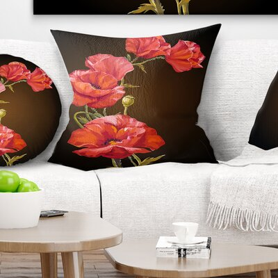Bright Poppies Flower Floral Pillow Size: 16 x 16, Product Type: Throw Pillow