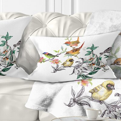 Tropical Flowers and Birds Birds Pillow Size: 12 x 20, Product Type: Lumbar Pillow