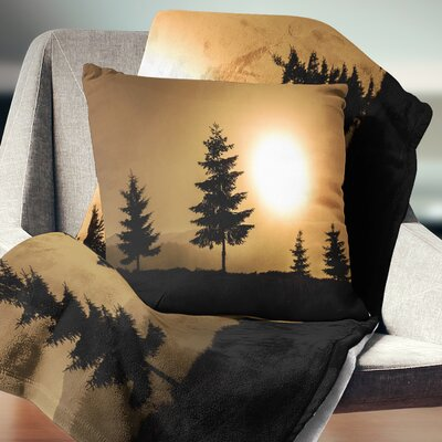 Bright Sunrise Tree Silhouette Landscape Printed Pillow Size: 26 x 26, Product Type: Euro Pillow