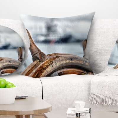 Steering Wheel Sailboat Landscape Photography Pillow Size: 18 x 18, Product Type: Throw Pillow