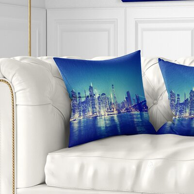 New York City at Night Panorama Cityscape Pillow Size: 18 x 18, Product Type: Throw Pillow