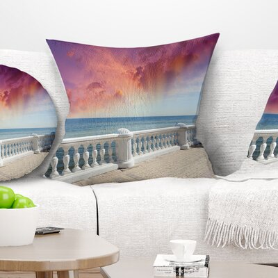 Stone Balcony with Ocean View Seashore Photo Pillow Size: 26 x 26, Product Type: Euro Pillow